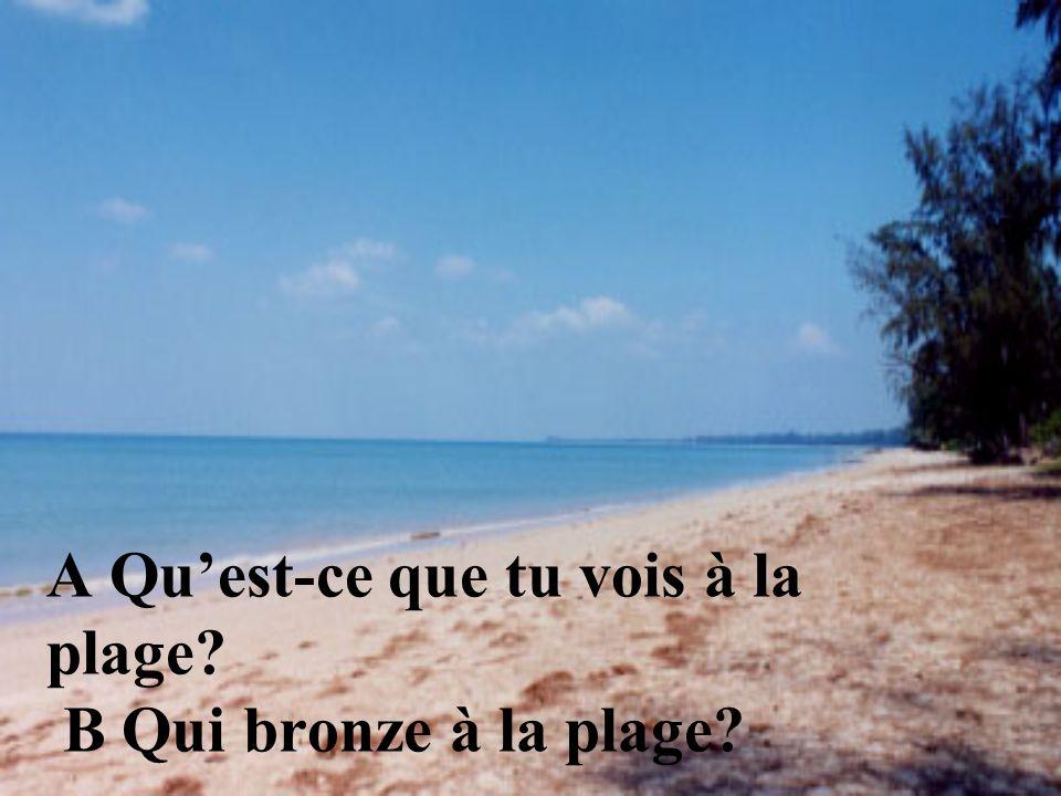 A Qu'est-ce que tu vois à la plage B Qui bronze à la plage