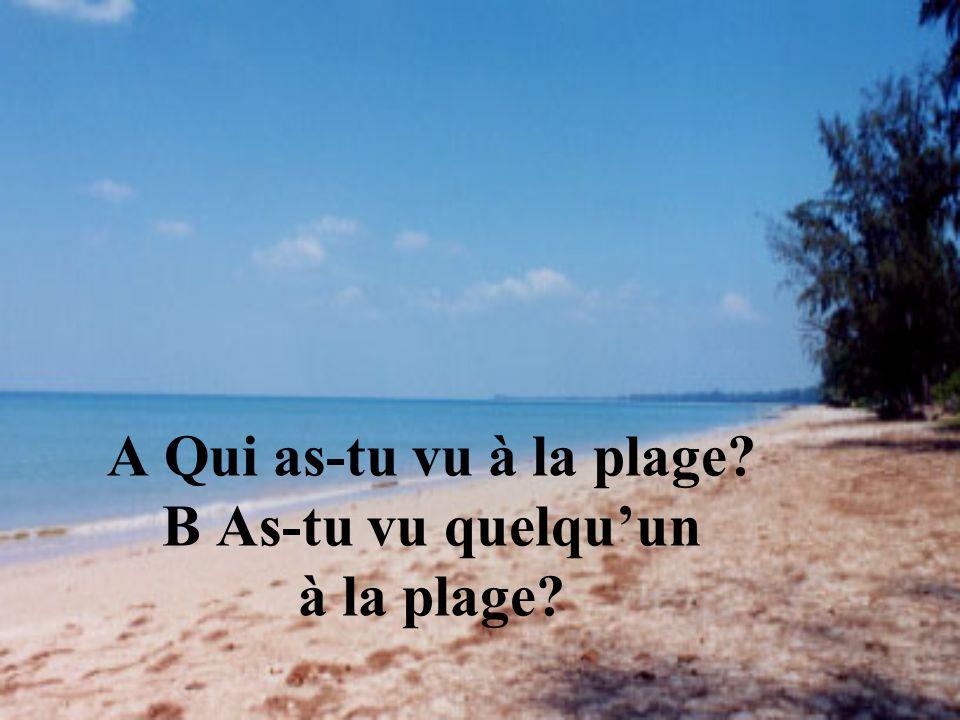 A Qui as-tu vu à la plage B As-tu vu quelqu'un à la plage