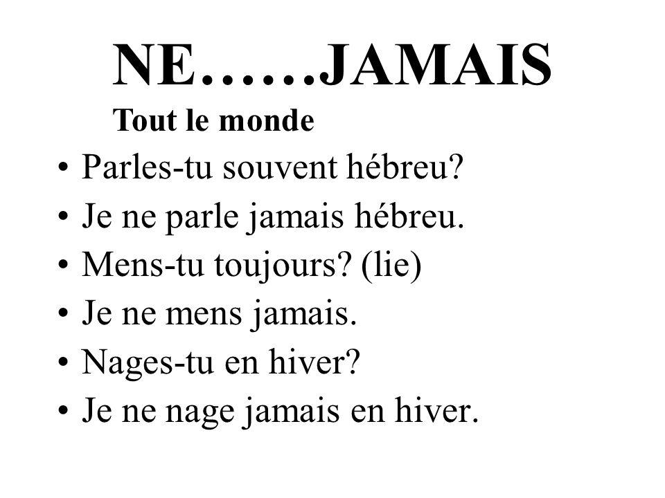 NE……JAMAIS Parles-tu souvent hébreu Je ne parle jamais hébreu.