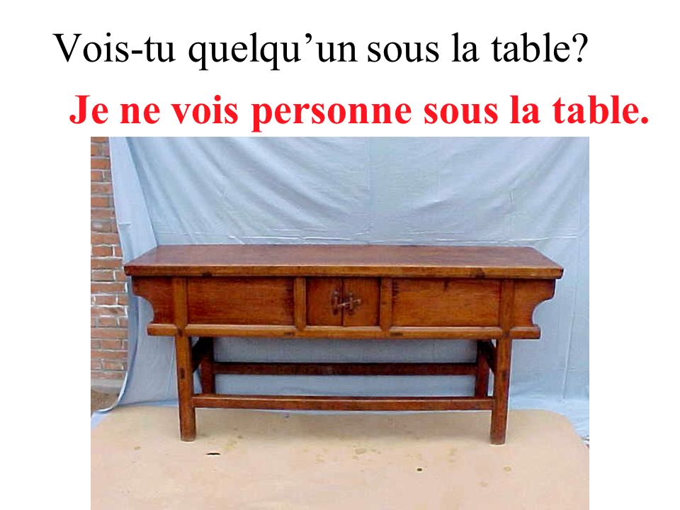 Vois-tu quelqu'un sous la table