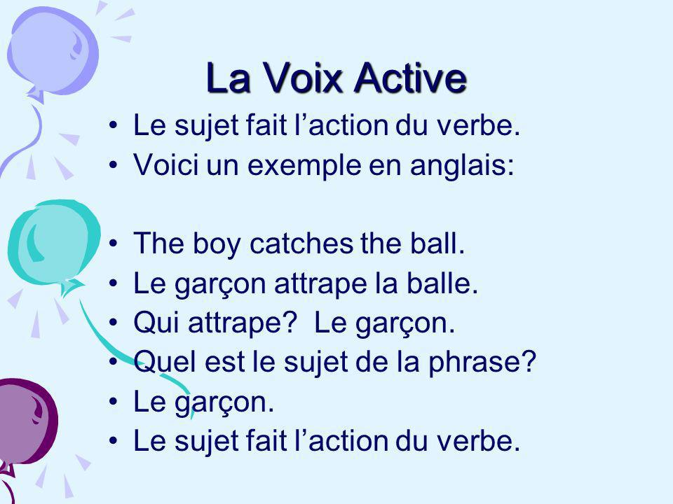 La Voix Active Le sujet fait l'action du verbe.