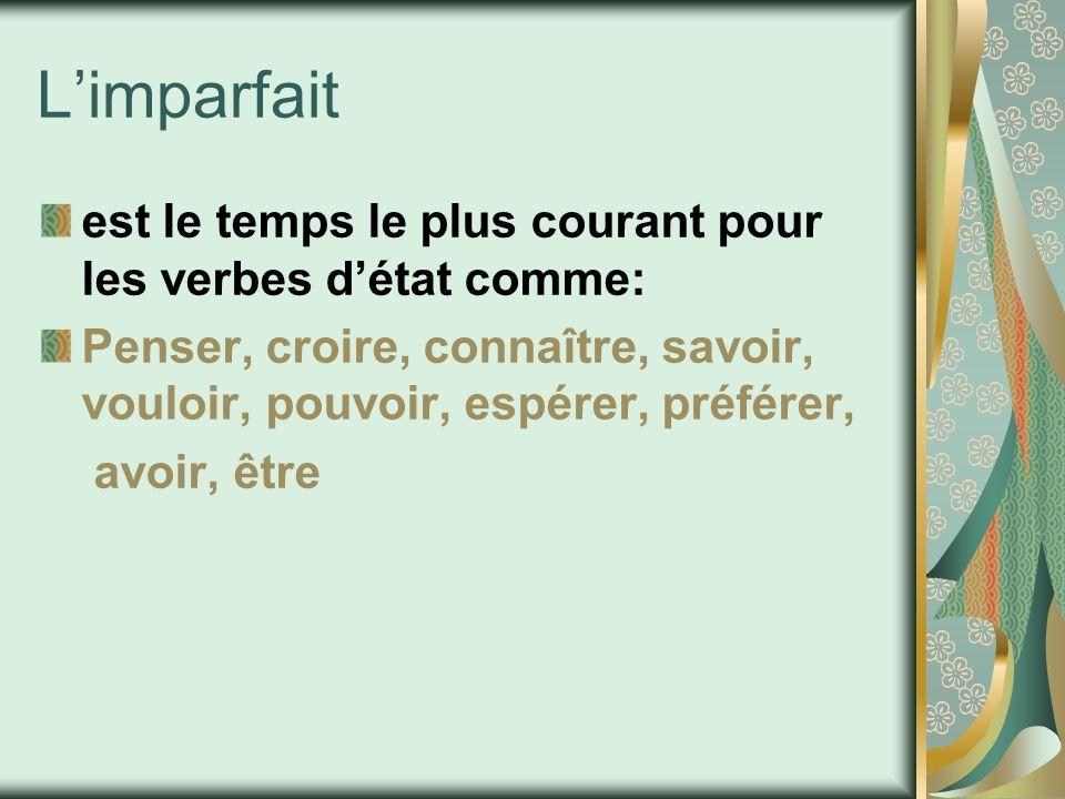 L'imparfait est le temps le plus courant pour les verbes d'état comme:
