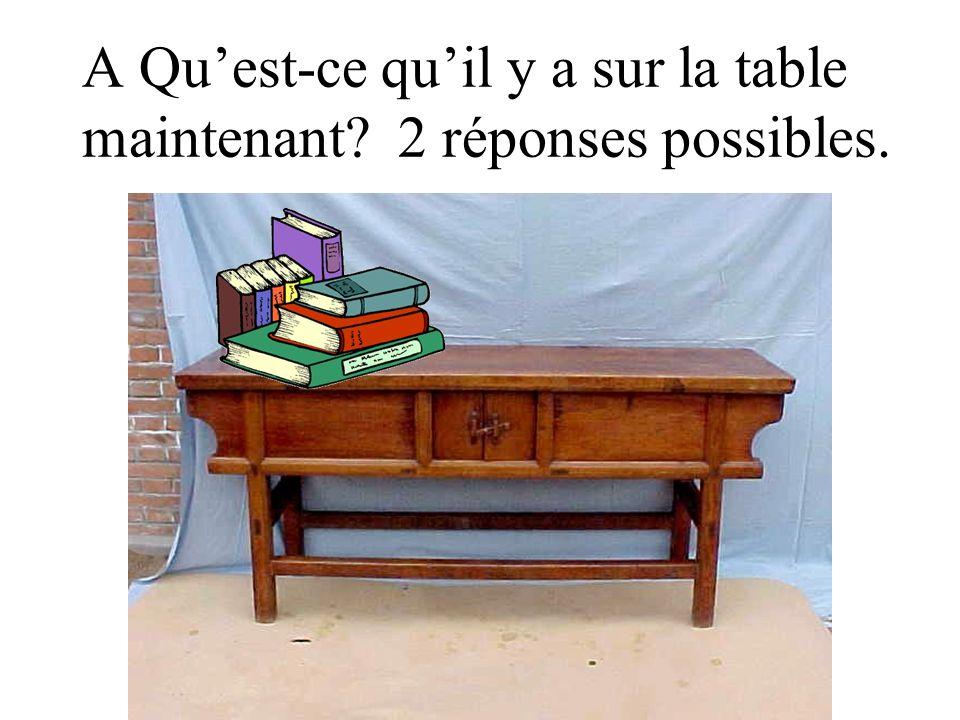 A Qu'est-ce qu'il y a sur la table maintenant 2 réponses possibles.