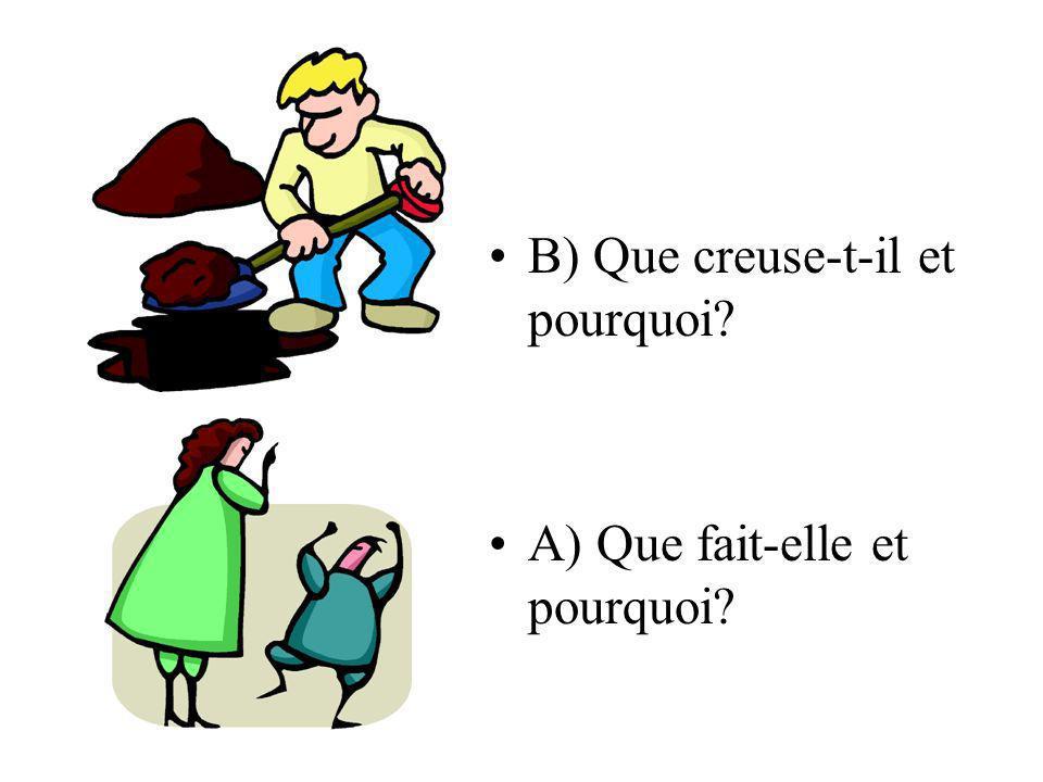 B) Que creuse-t-il et pourquoi