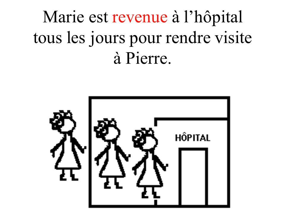 Marie est revenue à l'hôpital tous les jours pour rendre visite à Pierre.