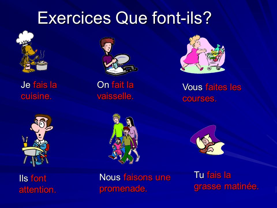 Exercices Que font-ils