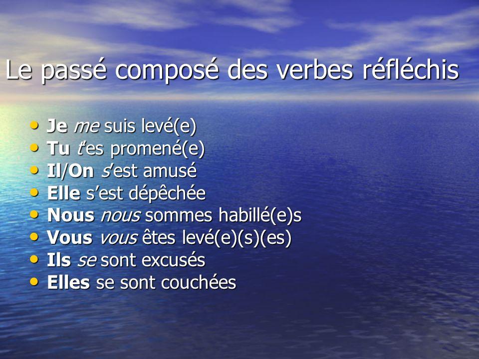 Le passé composé des verbes réfléchis
