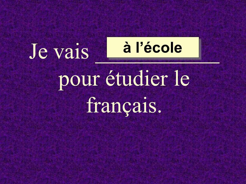 Je vais ___________ pour étudier le français.