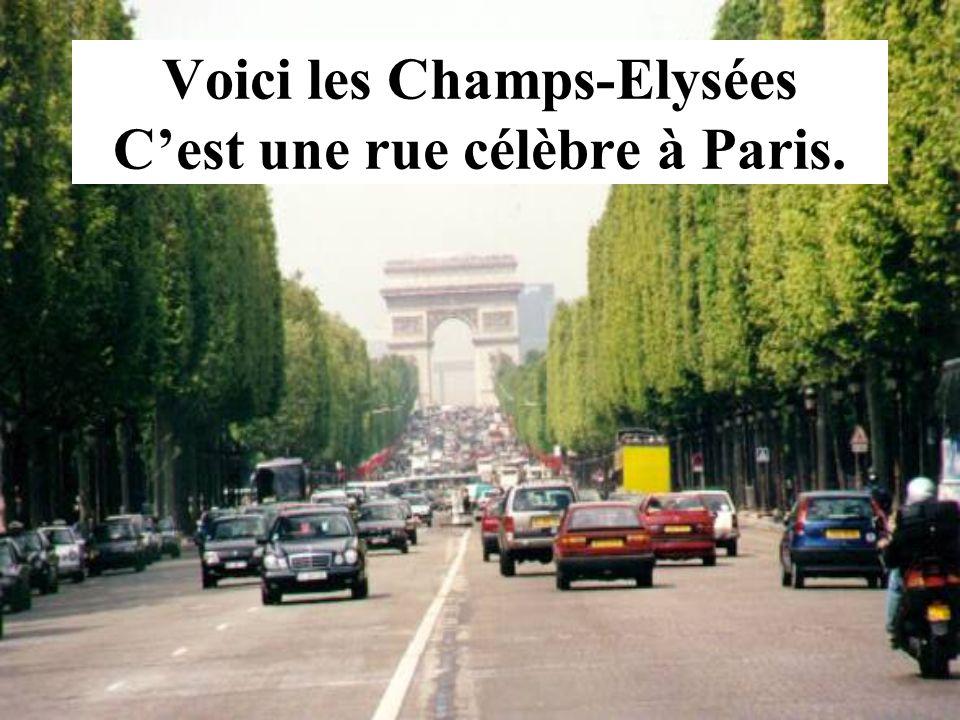Voici les Champs-Elysées C'est une rue célèbre à Paris.