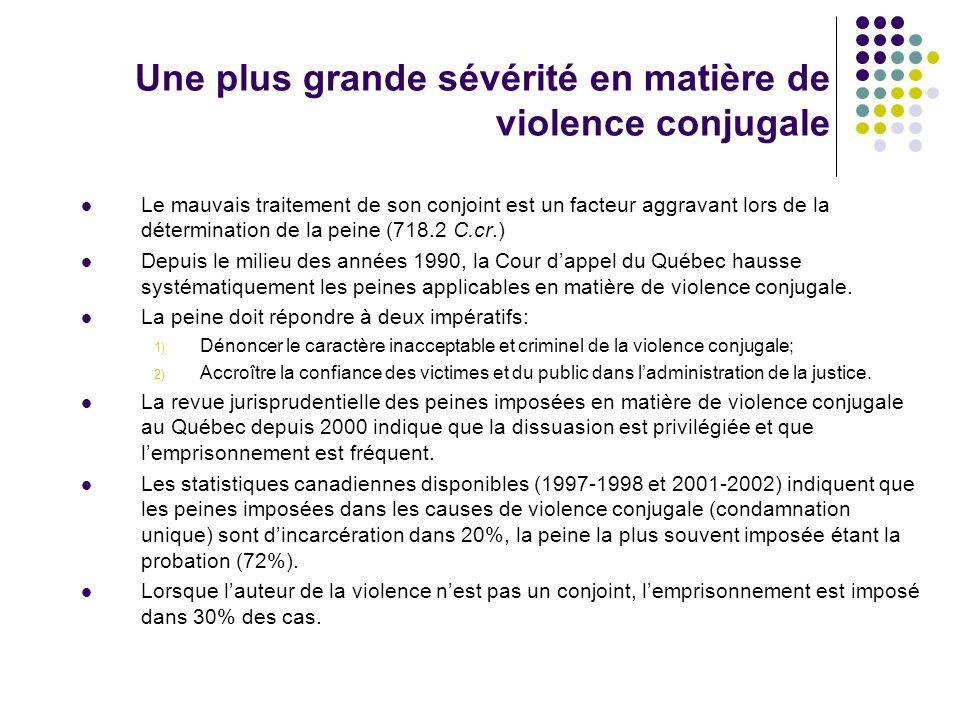 Une plus grande sévérité en matière de violence conjugale