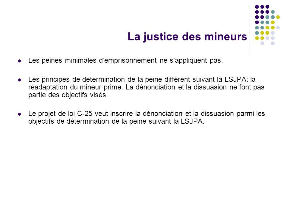 La justice des mineurs Les peines minimales d'emprisonnement ne s'appliquent pas.