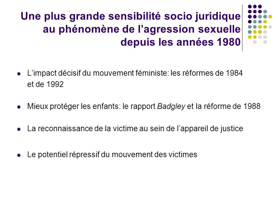 Une plus grande sensibilité socio juridique au phénomène de l'agression sexuelle depuis les années 1980