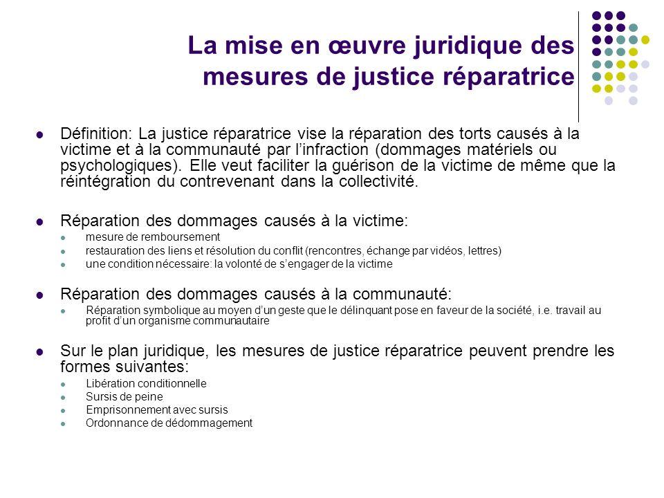 La mise en œuvre juridique des mesures de justice réparatrice