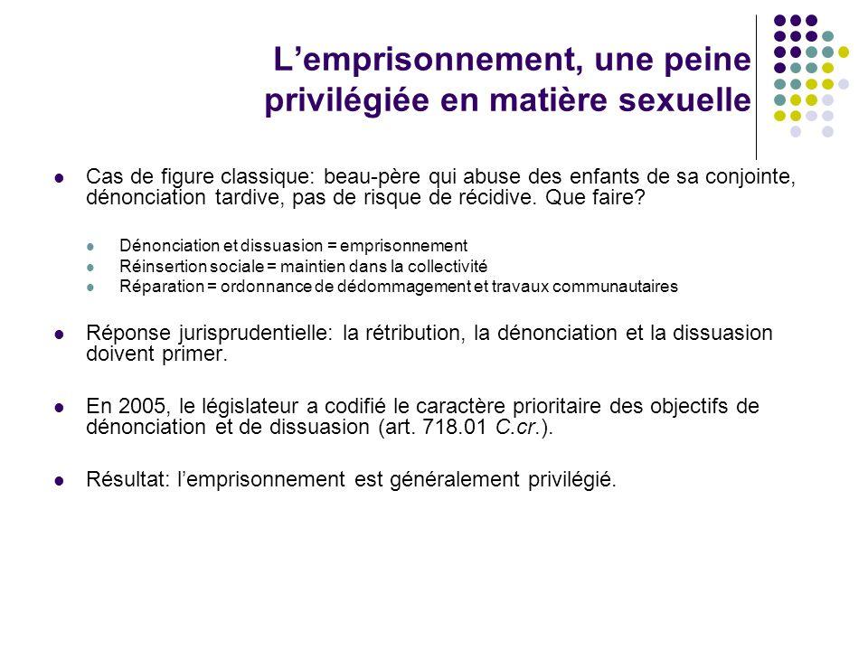 L'emprisonnement, une peine privilégiée en matière sexuelle
