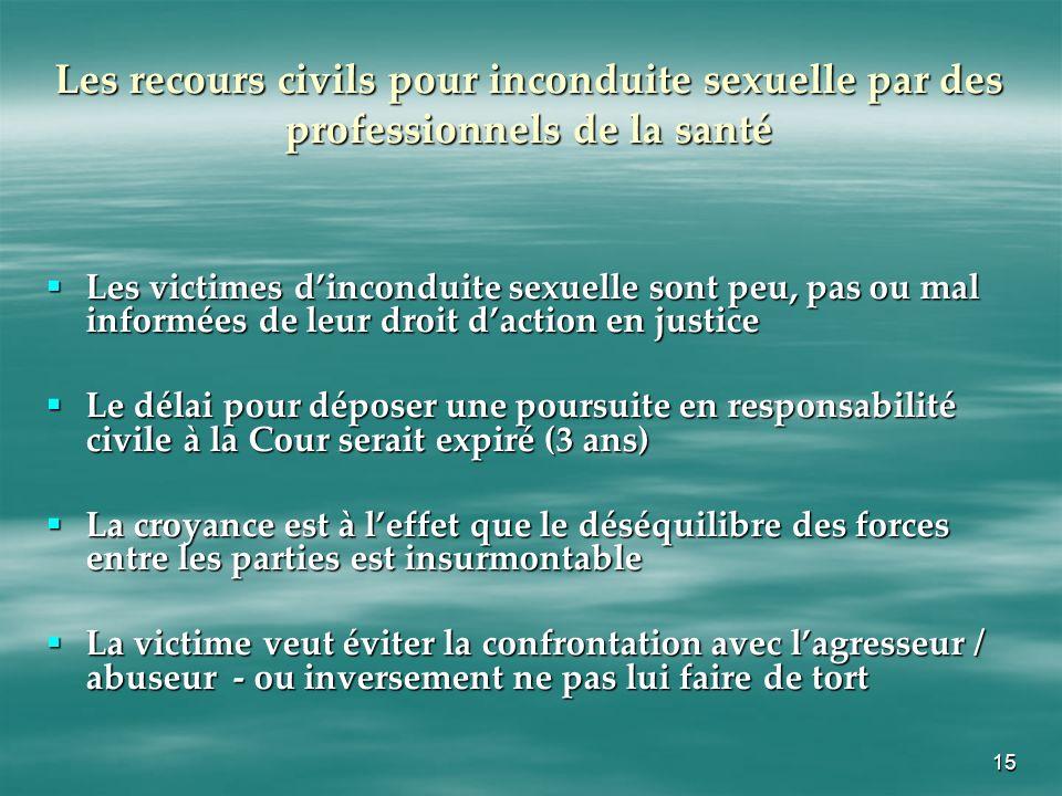 Les recours civils pour inconduite sexuelle par des professionnels de la santé