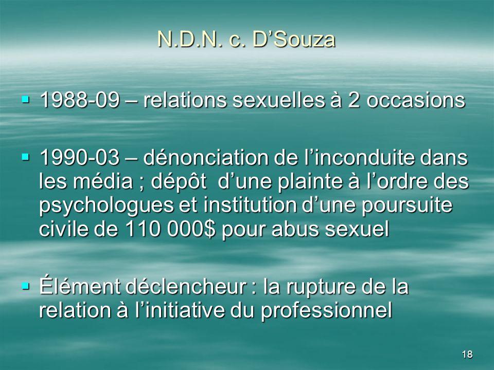 N.D.N. c. D'Souza1988-09 – relations sexuelles à 2 occasions.