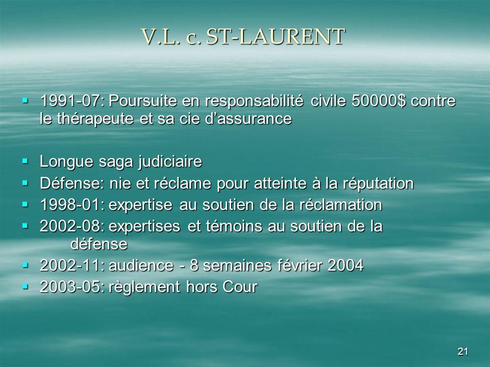 V.L. c. ST-LAURENT 1991-07: Poursuite en responsabilité civile 50000$ contre le thérapeute et sa cie d'assurance.
