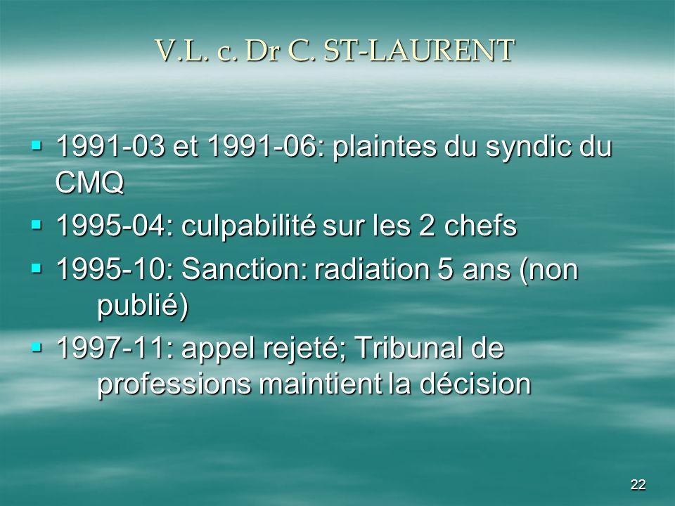 V.L. c. Dr C. ST-LAURENT 1991-03 et 1991-06: plaintes du syndic du CMQ. 1995-04: culpabilité sur les 2 chefs.