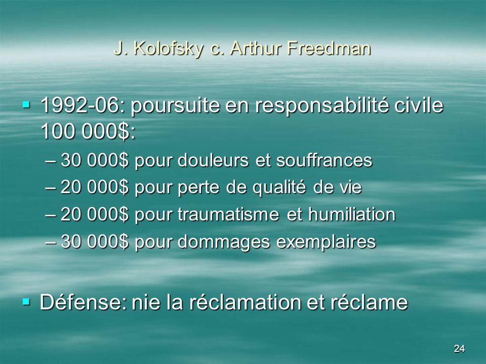 J. Kolofsky c. Arthur Freedman