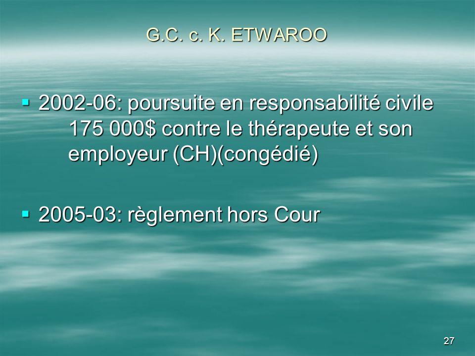 G.C. c. K. ETWAROO 2002-06: poursuite en responsabilité civile 175 000$ contre le thérapeute et son employeur (CH)(congédié)