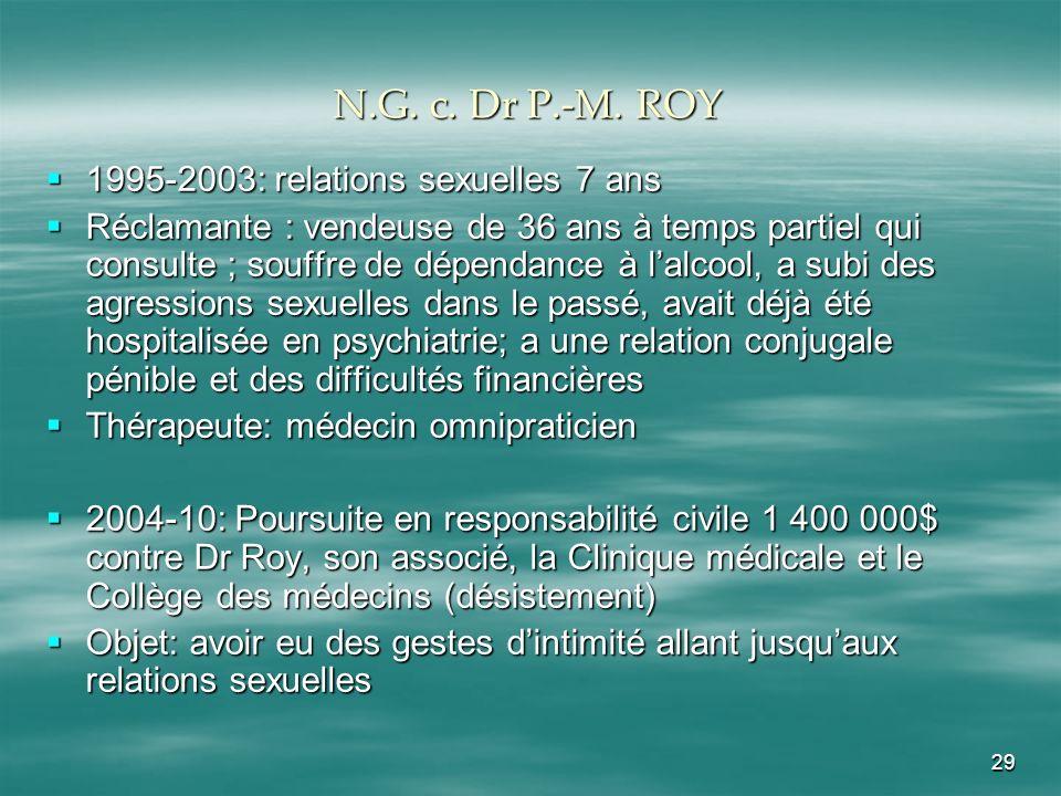 N.G. c. Dr P.-M. ROY 1995-2003: relations sexuelles 7 ans