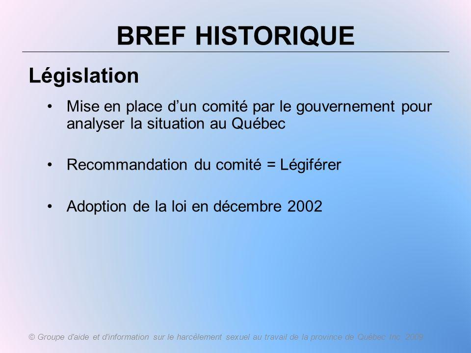 BREF HISTORIQUE Législation