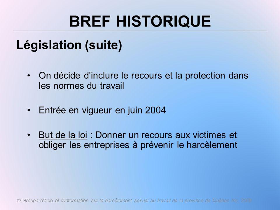 BREF HISTORIQUE Législation (suite)