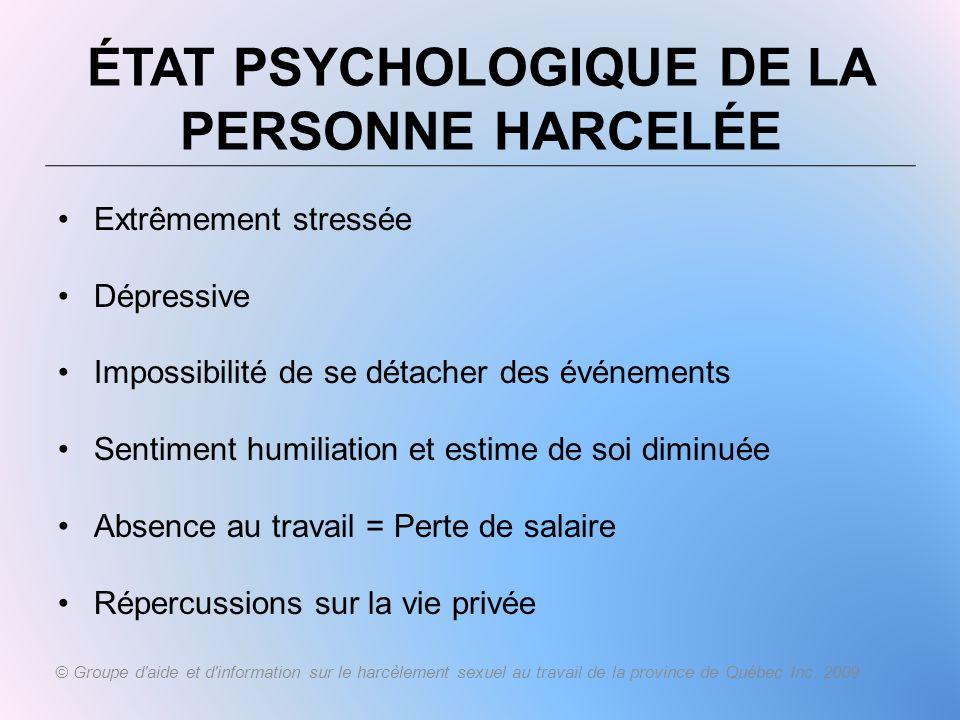 État psychologique de la personne harcelée
