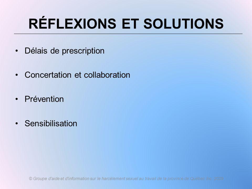 RÉFLEXIONS ET SOLUTIONS
