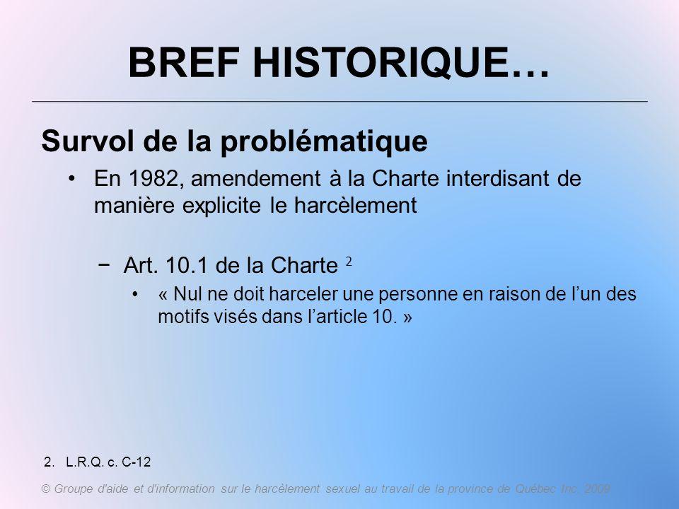BREF HISTORIQUE… Survol de la problématique