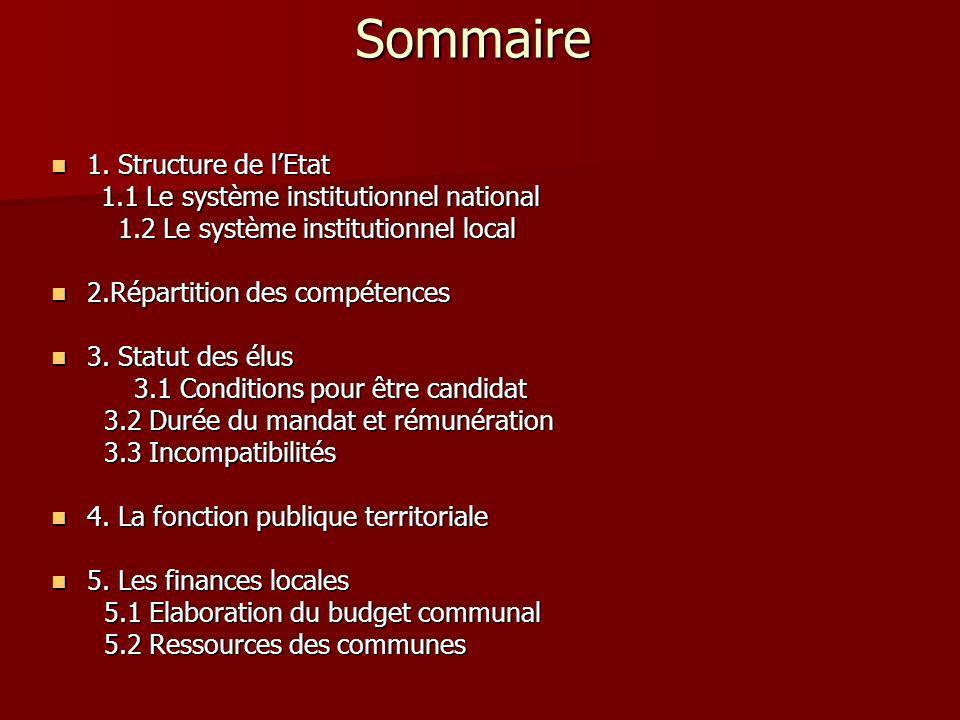 Sommaire 1. Structure de l'Etat 1.1 Le système institutionnel national