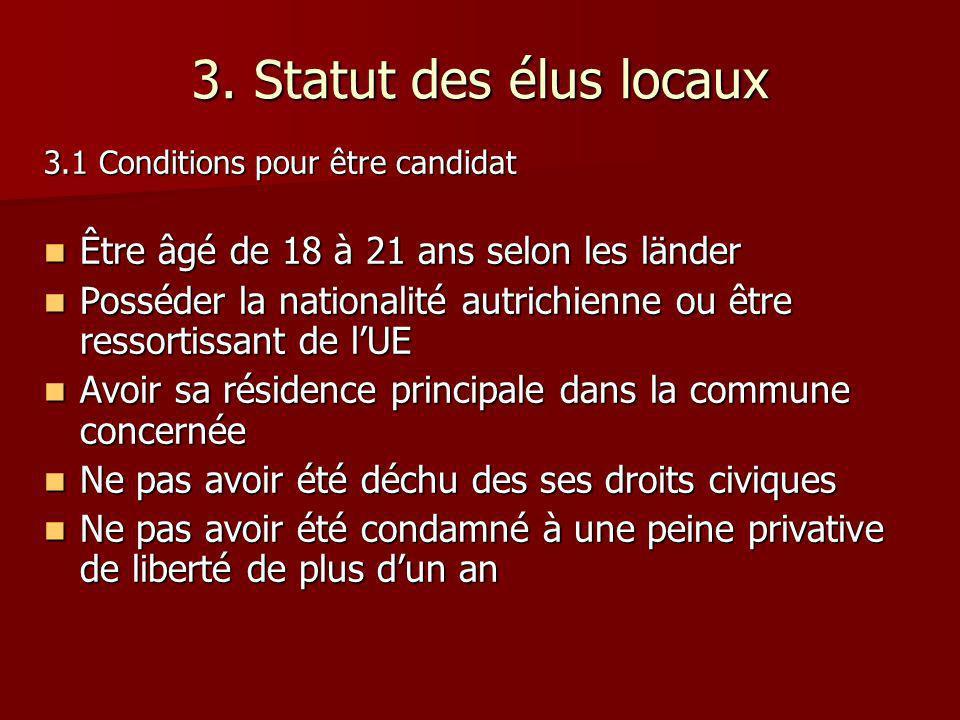 3. Statut des élus locaux Être âgé de 18 à 21 ans selon les länder