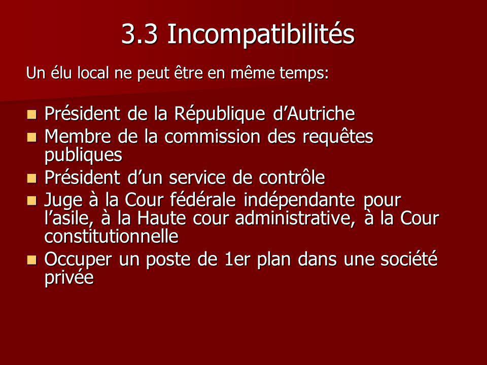 3.3 Incompatibilités Président de la République d'Autriche