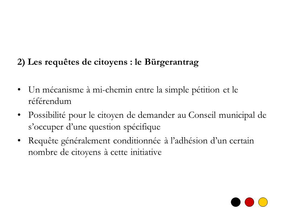 2) Les requêtes de citoyens : le Bürgerantrag