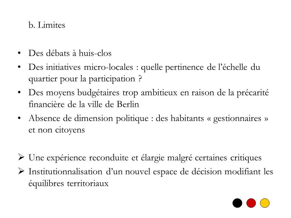 b. Limites Des débats à huis-clos. Des initiatives micro-locales : quelle pertinence de l'échelle du quartier pour la participation