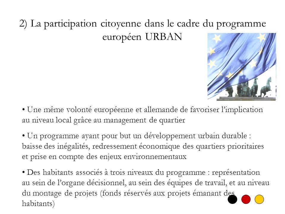 2) La participation citoyenne dans le cadre du programme européen URBAN