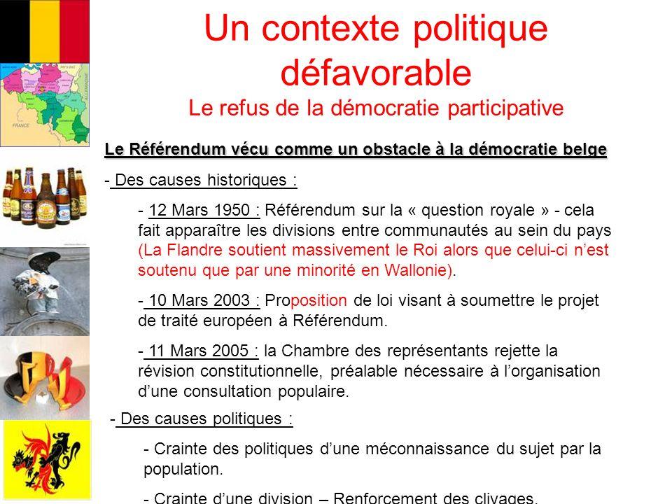 Un contexte politique défavorable Le refus de la démocratie participative