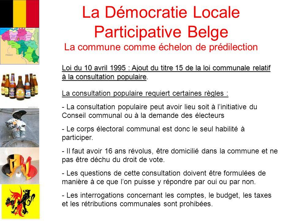 La Démocratie Locale Participative Belge La commune comme échelon de prédilection