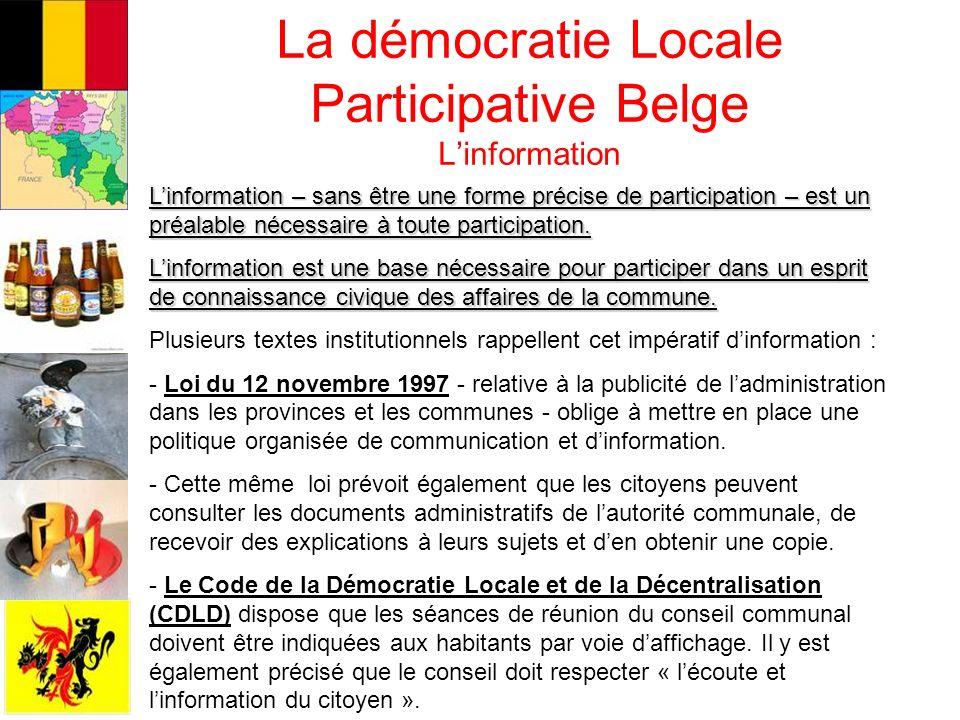 La démocratie Locale Participative Belge L'information