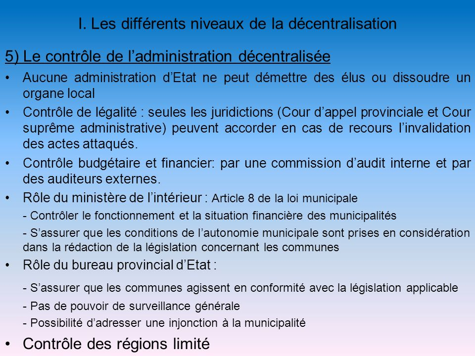 5) Le contrôle de l'administration décentralisée