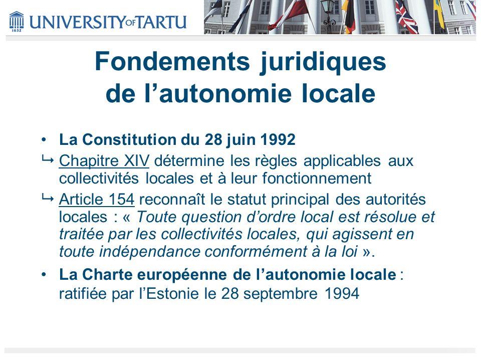 Fondements juridiques de l'autonomie locale