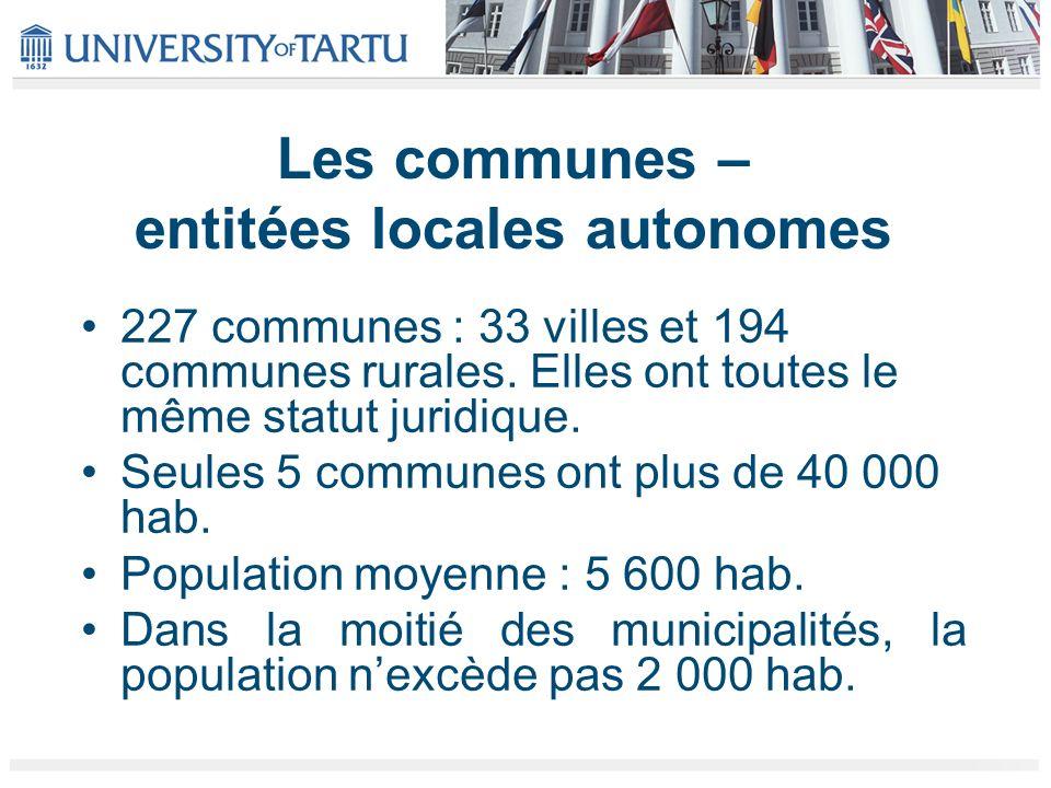 Les communes – entitées locales autonomes