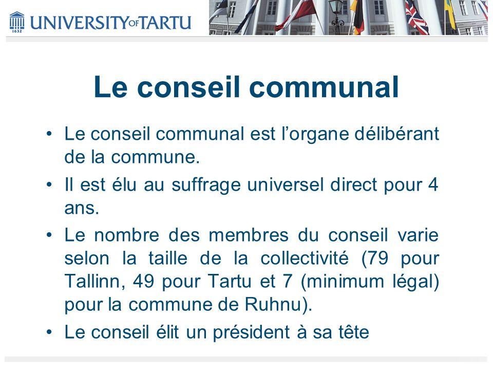 Le conseil communal Le conseil communal est l'organe délibérant de la commune. Il est élu au suffrage universel direct pour 4 ans.