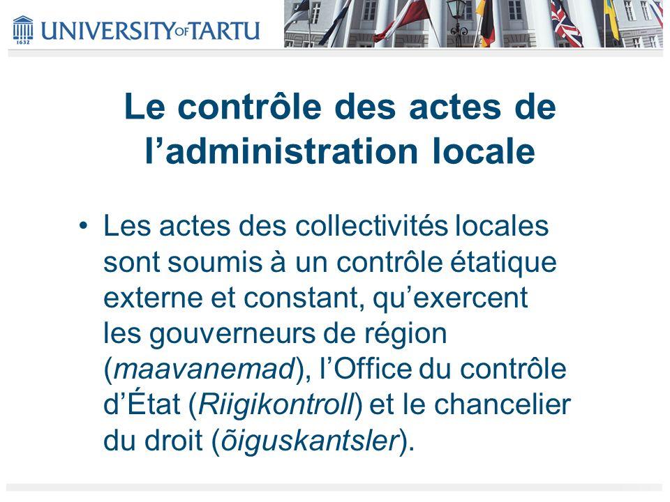 Le contrôle des actes de l'administration locale
