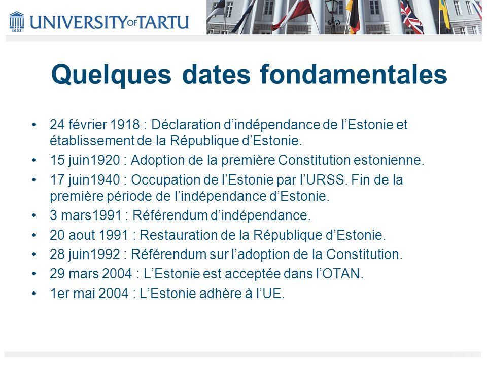 Quelques dates fondamentales