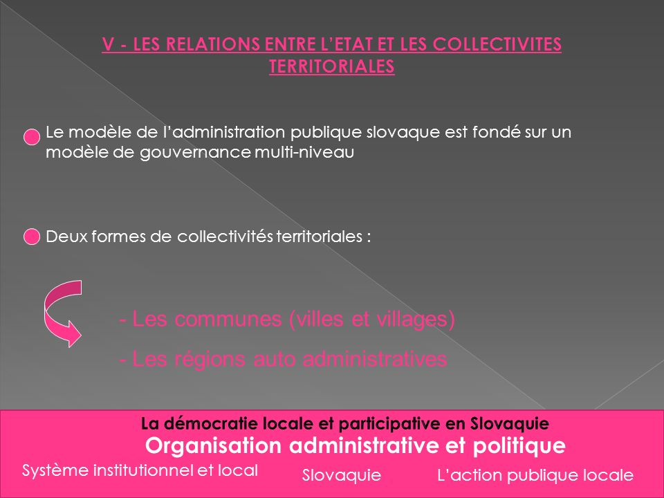 - Les communes (villes et villages) - Les régions auto administratives