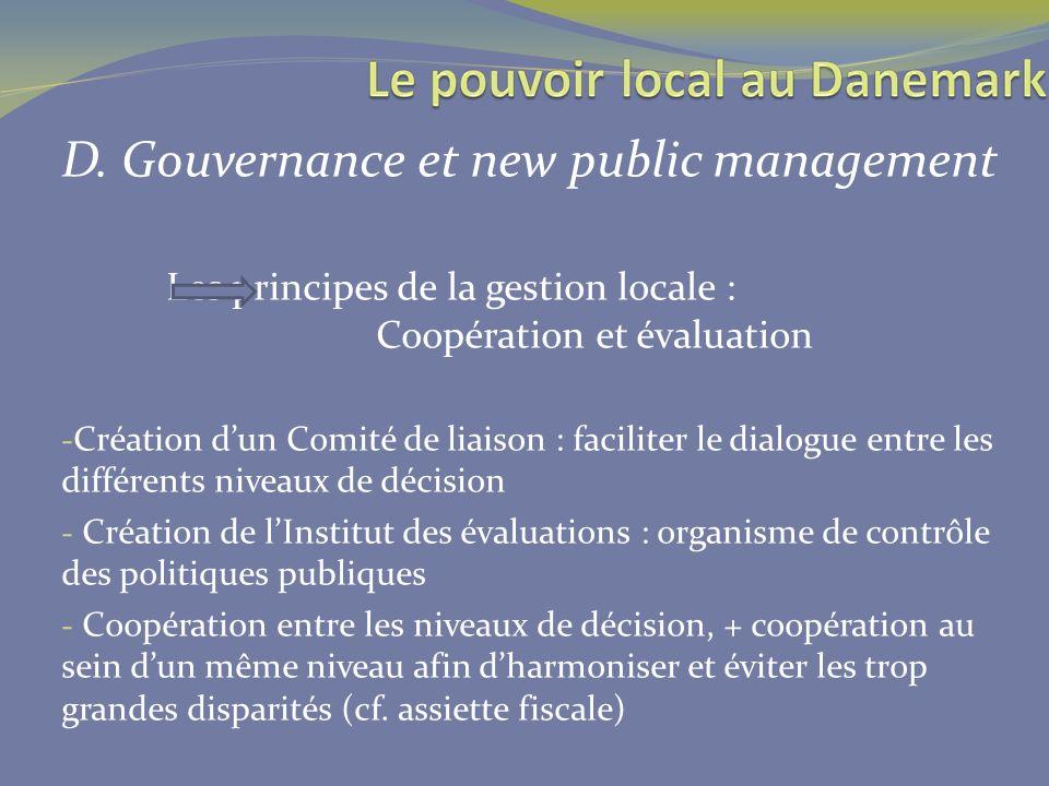 D. Gouvernance et new public management