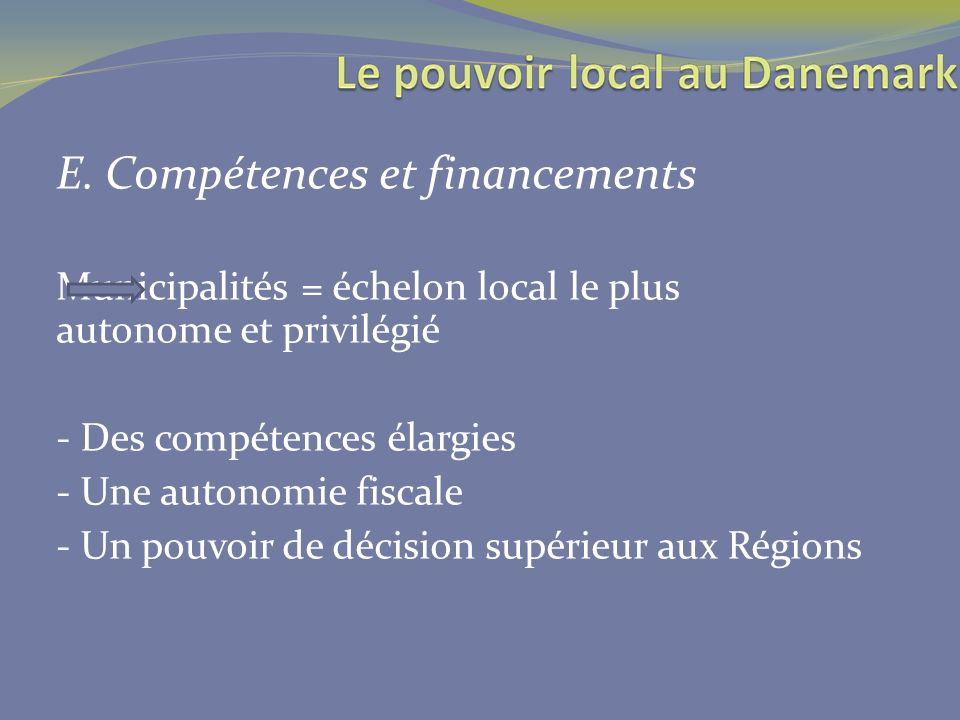 E. Compétences et financements
