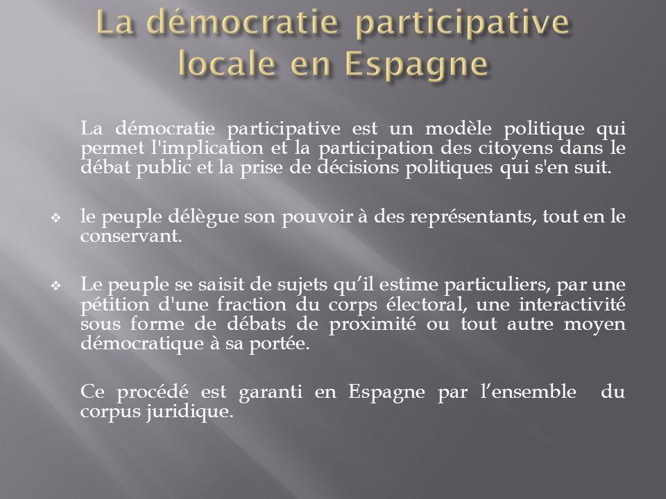 La démocratie participative locale en Espagne