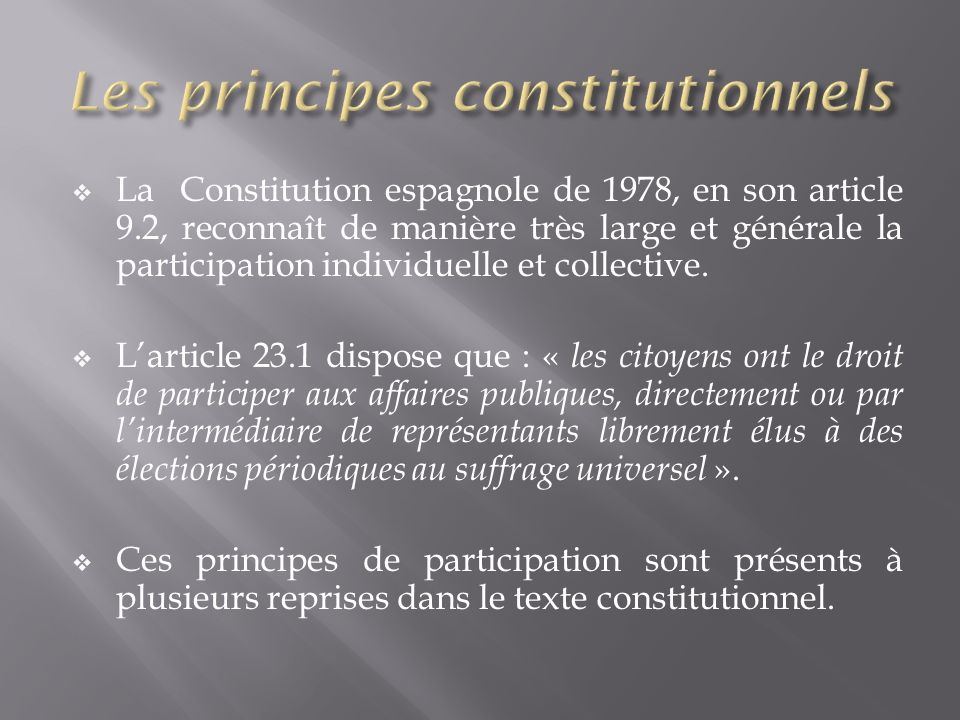 Les principes constitutionnels